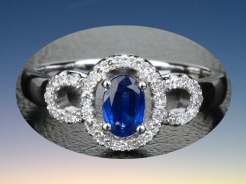 Oval Sapphire Engagement Ring Pave Diamond Wedding 14k White Gold