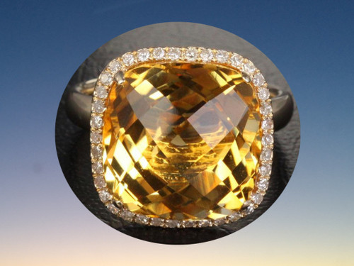 Cushion Citrine Engagement Ring Pave Diamond Wedding 14k yellow gold