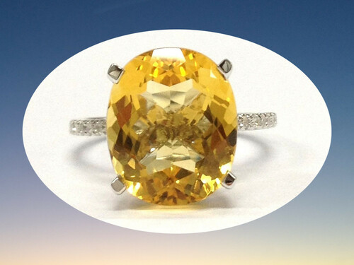 Oval Citrine Engagement Ring Pave Diamond Wedding 14K White Gold 10x12mm