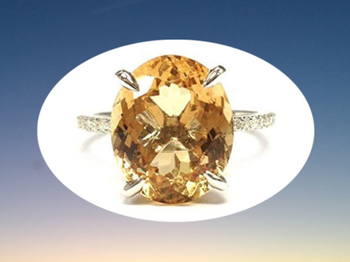 Prong Set,Oval Orange Citrine Engagement Ring Pave Diamond Wedding 14K White Gold,10x12mm