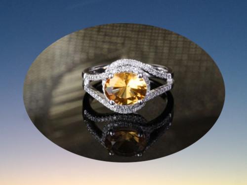 Oval Citrine Engagement Ring Pave Diamond Wedding 14K White Gold 7x9mm