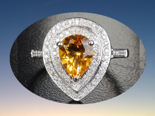 Pear Citrine Engagement Ring Pave Diamond Wedding 14K White Gold 7x9mm Double Halo