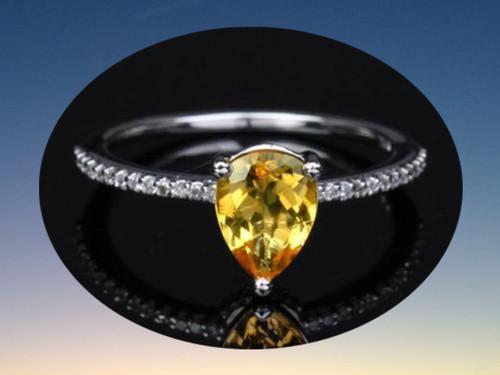 Pear Citrine Engagement Ring Pave Diamond Wedding 14K White Gold 6x8mm