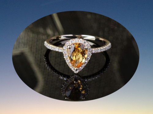 Pear Citrine Engagement Ring Pave Diamond Wedding 14k Yellow Gold