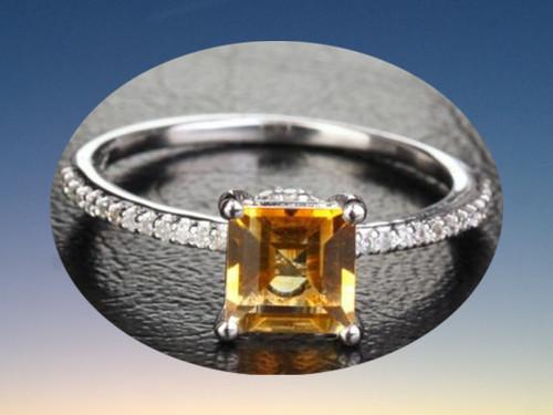 Princess Citrine Engagement Ring Pave Diamond Wedding 14k White Gold 6mm