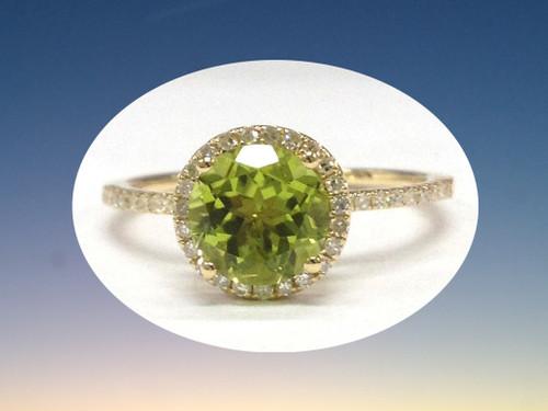Round Peridot Engagement Ring Pave Diamond Wedding 14k Yellow Gold 7mm