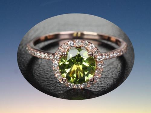 Round Peridot Engagement Ring Pave Diamond Wedding 14k Rose Gold 7mm