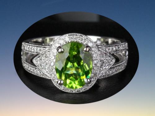 Oval Peridot Engagement Ring Diamond Split Shank Milgrain 14K White Gold 7x9mm