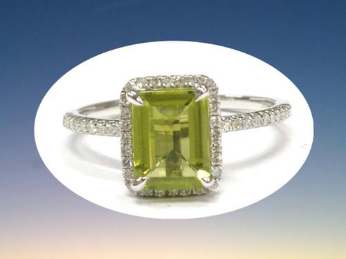 Emerald Cut Peridot Engagement Ring Pave Diamond Wedding 14K White Gold 6x8mm