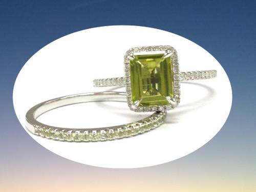 2pc Bridal Set,Emerald Cut Peridot Engagement Ring Diamond / Peridot Wedding Band 14K White Gold 6x8mm