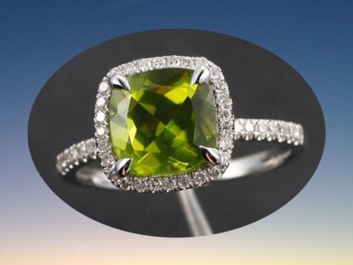 Cushion Peridot Engagement Ring Pave Diamond Wedding 14K White Gold 8mm Claw Prongs