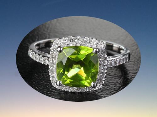 Cushion Peridot Engagement Diamond Ring 14K White Gold 8mm