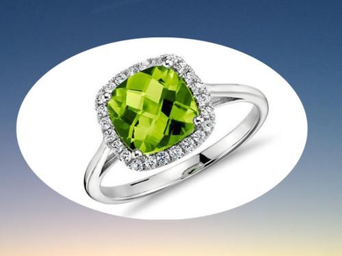 Cushion Peridot Engagement Ring Pave Diamond Halo 14K White Gold 8mm
