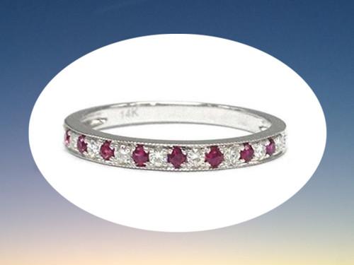 Moissanite Ruby Wedding Band Half Eternity Anniversary Ring 14K White Gold Milgrain