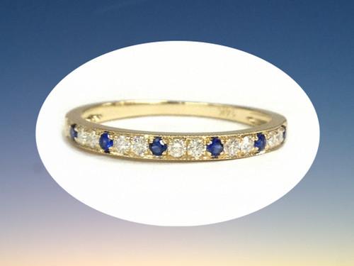 Moissanite Sapphire Wedding Band Half Eternity Anniversary Ring 14K Yellow Gold 1.5mm