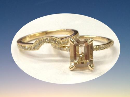 2pc Bridal Set,Emerald Cut Morganite Engagement Ring Diamond Wedding Band 14K Yellow Gold 6x8mm