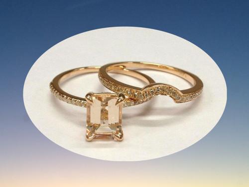 2pc Bridal Set,Emerald cut Morganite Engagement Ring Diamond Wedding Band 14K Rose Gold 6x8mm