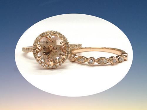 2pc Bridal Set,Round Morganite Engagement Ring Diamond Art Deco Band 14K Rose Gold 8mm