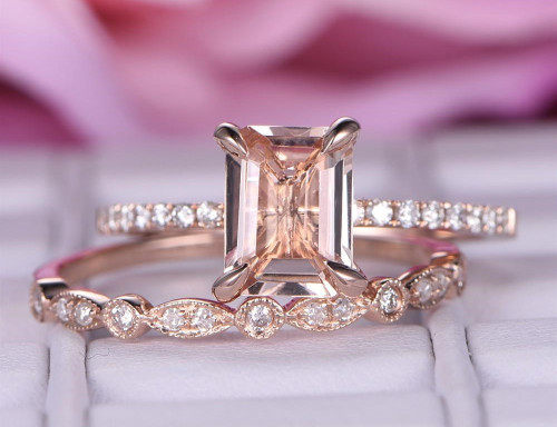 2pc Bridal Set,Emerald Cut Morganite Engagement Ring Art Deco Diamond Wedding Band 14K Rose Gold 6x8mm