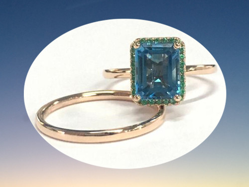 2pc Bridal Set,Emerald Cut London Blue Topaz Bridal Ring Emerald Halo 14K Rose Gold 6x8mm