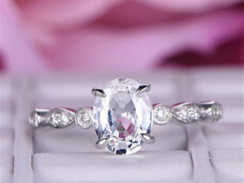Oval White Topaz Engagement Ring Diamond Art Deco Shank 14K White Gold 6x8mm