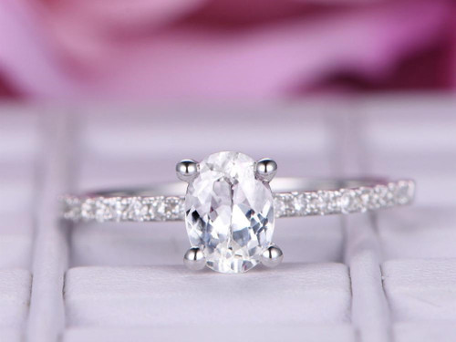Oval White Topaz Engagement Ring Pave Diamond Wedding 14K White Gold 6x8mm