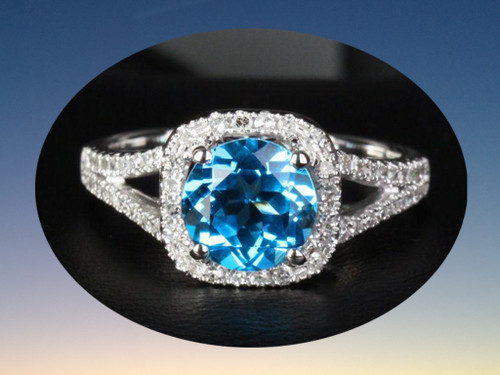 Round Blue Topaz Engagement Diamond Wedding Ring 14K White Gold 7.5mm