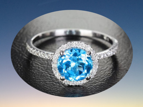 Round Blue Topaz Engagement Ring Pave Diamond Wedding 14k White Gold 7mm