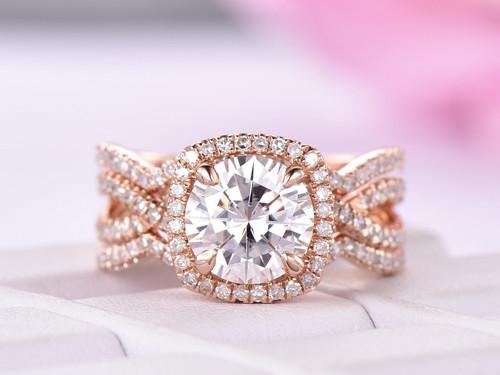 Trio Bridal Set,Round Moissanite Engagement Ring Diamond Ring Guard 14K Rose Gold 7.5mm