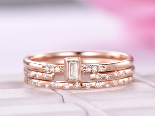 Trio Bridal Set,Baguette Diamond Wedding Ring 14K Rose Gold