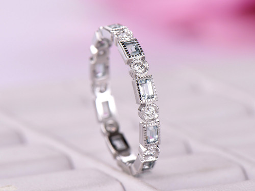 Baguette Aquamarine Round Full Cut Diamond Wedding Band Eternity Anniversary Ring 14k White Gold Milgrain