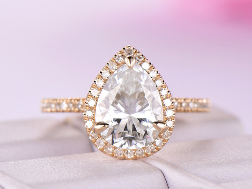 Pear Moissanite Engagement Ring Pave Diamond Wedding 14K Yellow Gold 7x9mm