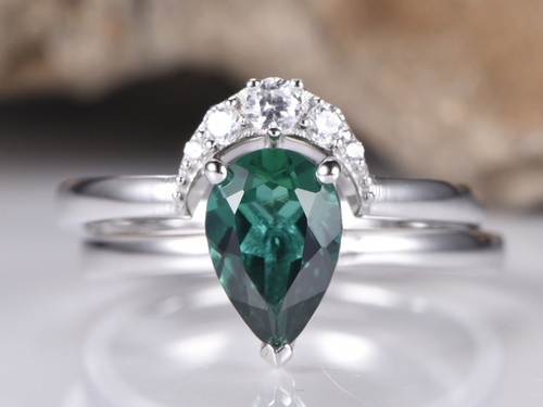 2pc Bridal Set,Pear Emerald Wedding Ring Diamond Crescent Band 6x9mm