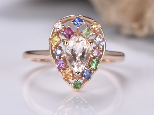 Pear morganite Ring Sapphire Floral Wreath Halo 14K Rose Gold
