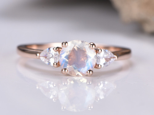 Round Moonstone Engagement Ring White Topaz 14k Rose Gold 6mm
