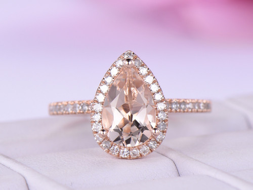 Pear Morganite Engagement Ring Accent Pave Diamond 14K Rose Gold 6x9mm