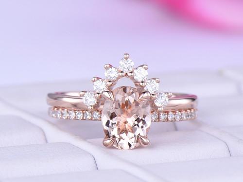 2pc Bridal Set,Oval Morganite Engagement Ring Moissanite Band 14K Rose Gold 6x8mm