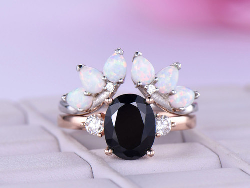 2pc Bridal Sets,Oval Black Spinel Engagement Ring Moissanite Opal Wedding Band 14k Rose Gold 7x9mm