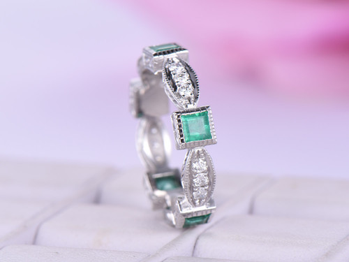 Princess Emerald VS H Diamond Wedding Band Eternity Art Deco Ring 14K White Gold