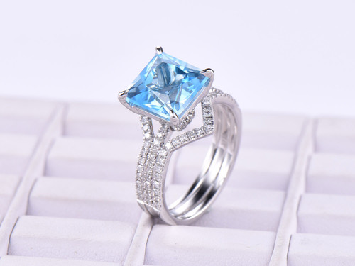 Trio Bridal Set, Princess Swiss Blue Topaz Engagement Ring United-as-One Chevron Diamond Band 14K White Gold 8mm