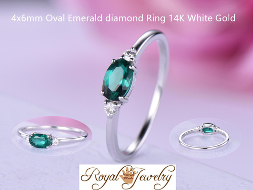Oval Emerald diamond Dainty Engagement Ring 14K White Gold 4x6mm