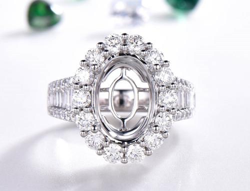 Diamond Semi Mount Ring 14K White Gold VS H Baguette diamond shank Oval 10x14mm