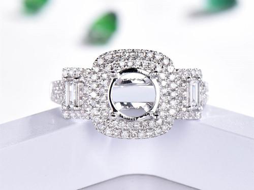 Diamond Semi Mount Ring 14K White Gold VS H diamond Double Halo Round 7mm