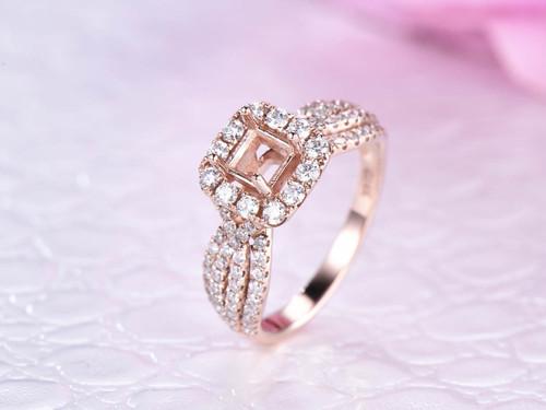 Diamond Semi Mount Ring 14K Rose Gold Princess 4.5x4.5mm,Full Cut