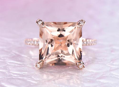 Princess Morganite Engagement Ring Diamond Prongs 14K Rose Gold 10mm