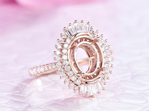 Baguette and Round VS Diamond Halo Semi Mount Ring 14K Rose Gold Oval 6x8mm