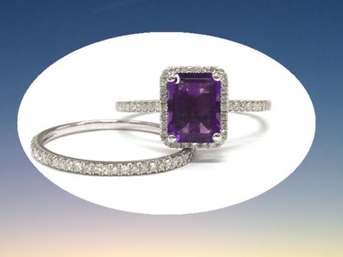 2pc Bridal Ring set,Emerald Cut Purple Amethyst Engagement Ring Pave Diamond Wedding 14K White Gold 6x8mm
