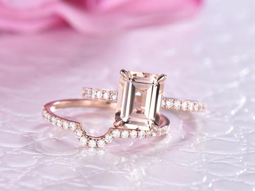 2pc Bridal Set, Emerald Cut Morganite Ring  Contour Diamond Wedding Band 14K Rose Gold 7x9mm