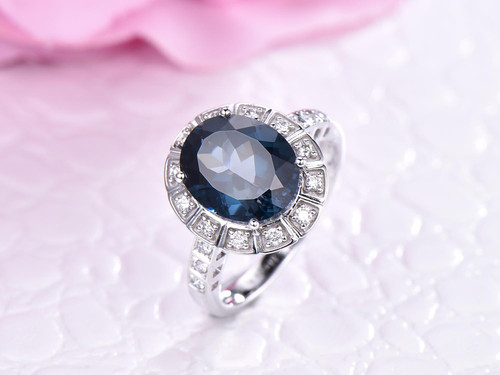 Oval London Blue Topaz Engagement Ring Diamond Band 14K White Gold 8x10mm