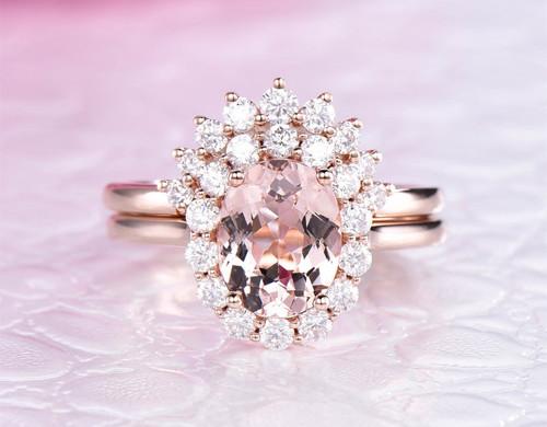 2pc Bridal Set,Oval Morganite Engagement Ring Moissanite Tiara Band 14K Rose Gold 7x9mm